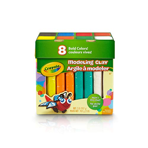 Crayola Modeling Clay (Crayola 8 Bold Colors, 2 Lb. Non-Toxic Art Tool for Kids 4 & Up, Traditional Modeling Clay,)