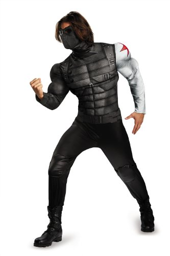 Disguise Men's Marvel Movie 2 Winter Soldier Classic Muscle Costume, Black/Grey, X-Large/42-46]()