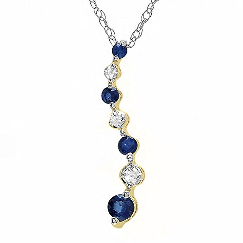 (Dazzlingrock Collection 10K Round White Diamond & Blue Sapphire Ladies Graduating Journey of Life Pendant, Yellow Gold)
