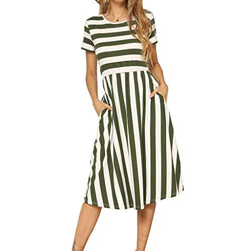 LONGDAY Women Midi Dress, Summer Crew Neck Striped T-Shirt Short Sleeves Casual Shirt Swing Knee Length Dress Pocketed Green -