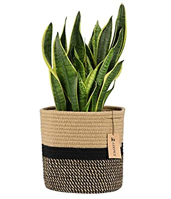 "LEEPES Jute Rope Plant Basket Modern Woven Basket for 10"" Flower Pot Floor Indoor Planters,Storage Organizer Basket Rustic Home Decor, Black and Beige Stripes 11""x 11"""