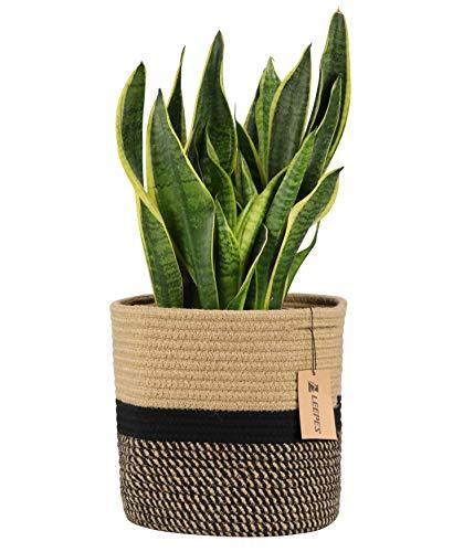 (LEEPES Jute Rope Plant Basket Modern Woven Basket for 10