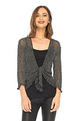 SHU-SHI Womens Sparkly Metallic Knitted Sheer Shrug Cardigan Bolero Top One Size Fits Most