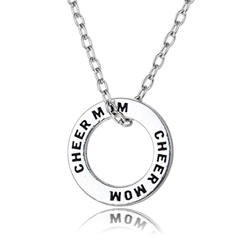 Cheer Mom Necklace (Family Members Necklace Engraved Cheer Mom Ring Pendant Necklace Mother's Day Gift for Mom)