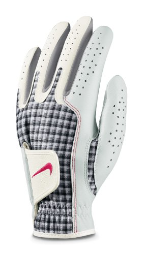 NIKE Women's Tech Xtreme Regular Left Hand Glove (White/Aster Pink/Checkham, Large)