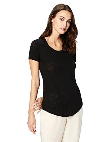 Daily Ritual Women's 100% Linen Short-Sleeve Scoop Neck T-Shirt, L, (Scoop Neck Tee Shirt)