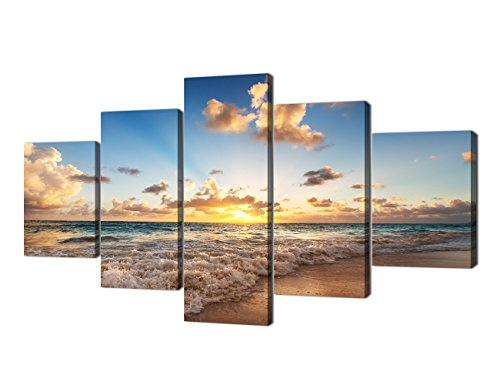 Framed Scene Beach - Sunset Beach Wave Scene Seascape Landscape Picture Modern Painting on Canvas 5 Piece Framed Wall Art for Living Room Bedroom Home Decor Gallery Wrap Giclee Posters and Prints (60''W x 32''H)