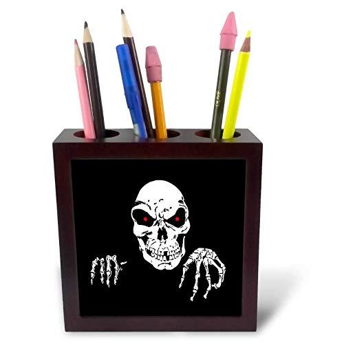 3dRose Sandy Mertens Halloween Designs - Death is Waiting Evil Skeleton with Black Background, 3drsmm - 5 inch Tile Pen Holder -