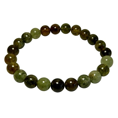 Satin Crystals Garnet Green Bracelet Boutique Dazzling Round Genuine Gemstone Stretch Handmade B01 (6.5