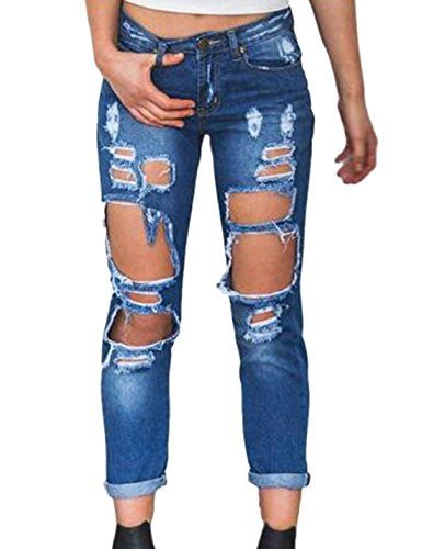 Le Strappati Naliha Stile Deepblue Angosciato Pantaloni Donne Jeans Ragazzo qAqPzw