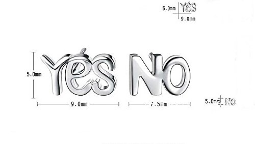Winwest Sterling Silver YES NO Words Stud Earrings (Earrings Words)