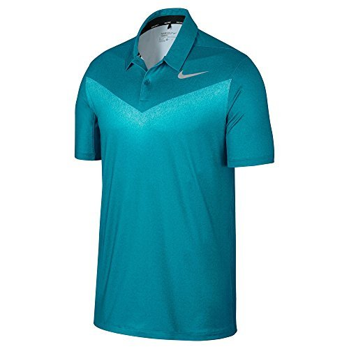 NIKE Men's Chevron Dry Golf Polo Shirt Bluestery 854264-467 (M) (Nike Graphic Polo Chest)