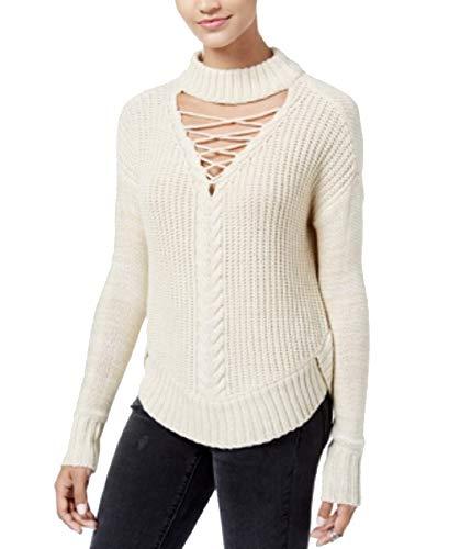 (American Rag Juniors Beige Lace-Up Cutout Mock-Neck Sweater (Cream, M))