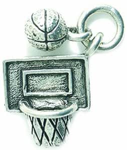 Shipwreck Beads Pewter Basketball Hoop with Ball Charm, 22mm, Silver, 2-Piece