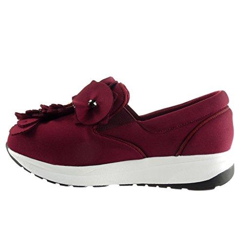Angkorly - Women's Fashion Shoes Trainers - slip-on - platform - flowers - pearl - rhinestone Wedge 3 CM Wine IpyDG