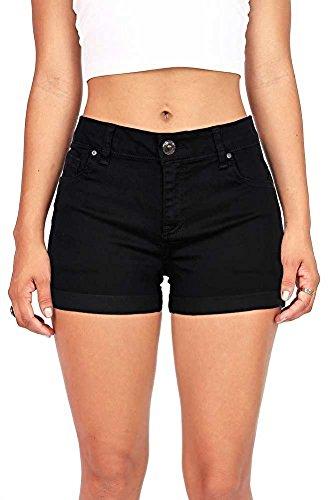 Juniors Black Short (Wax Women's Juniors Perfect Fit Mid-Rise Denim Shorts Black Small)