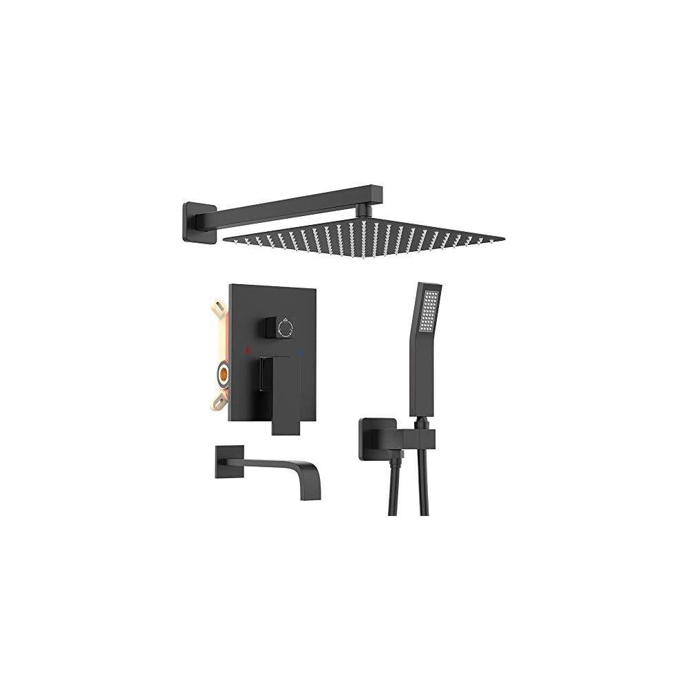 KOJOX Shower System with High Pressure Rainfall Shower Head, Handheld Shower Head, Bathtub Faucet Trim Kit and 3…