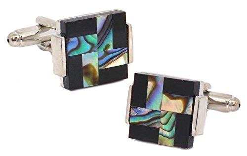 Cufflinks Direct Abalone Shell & Black Onyx Cross Square Mens Wedding Gift by (Cufflinks With Gift Bag)