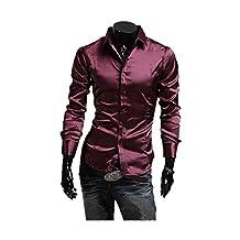 ARJOSA Men's Business Casual Club Shiny Long Sleeve Slim Fit Dress Shirt