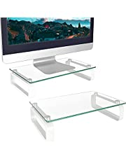 2 Pack Computer Monitor Stand Riser Multi Media Desktop Stand for Flat Screen LCD LED TV, Laptop/Notebook/Xbox One, with Tempered Glass and Metal Legs,HD02T-201