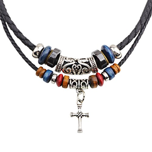 Snowman Lee Double Braided Rope Beads Vintage Cross Adjustable Pendant Necklace