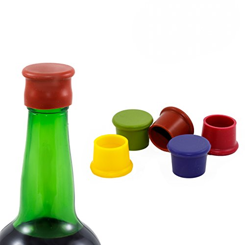 Stopper Wine Round (Koolnfun 5 Wine Stoppers - Perfect Wine Gift Accessory, Set of 5 Funny Silicone Wine Reusable Caps Stoppers for Wine and Beer Bottles - VinoLuvr Wine Stoppers)