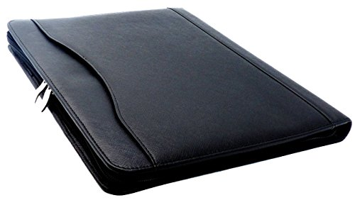 Portfolio Organizer, Zippered Padfolio Binder, Resume and Interview Document Folder, Leather Writing Pad, Notebook Holder with Tablet Sleeve for 10 Inch iPad and Business Card Slots (Black) - Document Folio