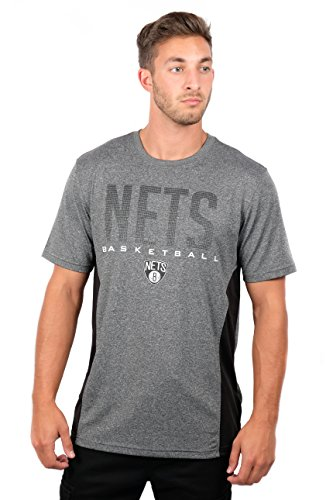 fan products of NBA Men's Brooklyn Nets T-Shirt Performance Short Sleeve Tee Shirt, X-Large, Gray