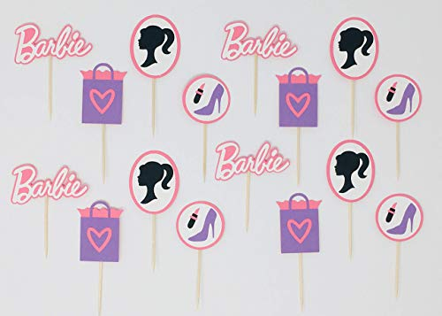 Fashion Barbie Themed Cupcake Toppers, Birthday and Baby Shower Fashion Decorations   Set of -
