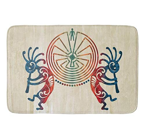 Bathlink Quick-Dry, Super Absorbent Anti-Slip Resistant Bathroom Mat Soft Bath Rug and Shower Carpet Kokopelli Man in The Maze Colored Your Ideas (30 X 18 Inch)