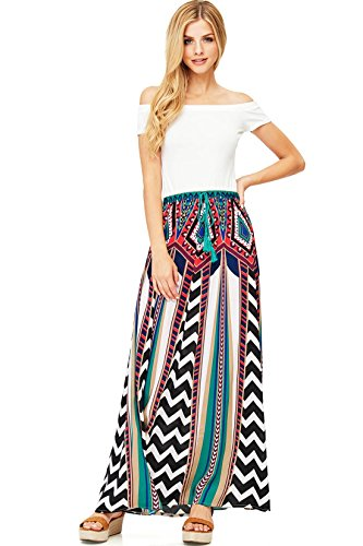 Flying Tomato Women's Convertible Chevron Print Maxi Skirt (S, Turquoise (Best Tomatoes For Drying)