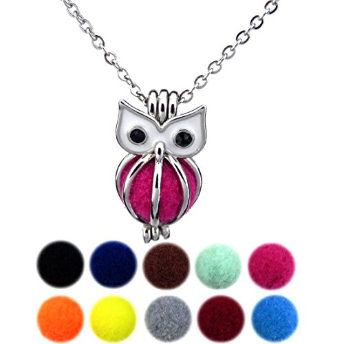 Price comparison product image (Silver & Gold) Owl Locket Necklace for Kid, Girls, Boy, New Mom, Animals Party Favors, Owl Pendant, Bead Cage (Silver)