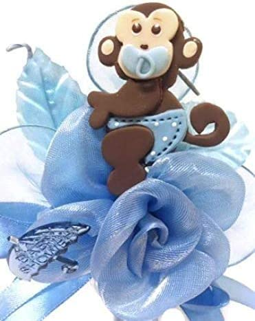 Baby Shower Corsage Boy Blue Safari Jungle Monkey Corsage for Mom to Be