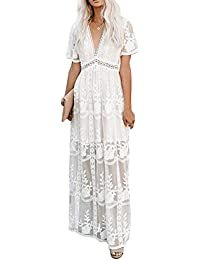 Women's Deep V Neck Short Sleeve Floral Lace Bridesmaid Maxi Dress Party Gown