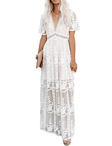 Ecosunny Women's Deep V Neck Short Sleeve Floral Lace Bridesmaid Maxi Dress Party Gown White S