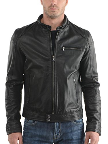 Biker Black Outwear In Auk061 Giacche Uomo Slim Pelle Cappotto Da Giacca Fit Moto WUqFOqg
