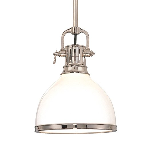 - Randolph 1-Light Pendant - Polished Nickel Finish with Opal Glossy Glass Shade