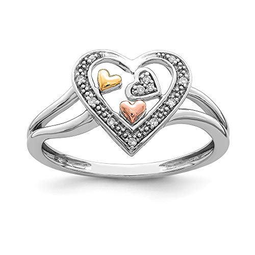 925 Sterling Silver 14k Yellow Rose Gold Diamond Heart Band Ring Size 6.00 S/love Fine Jewelry Gifts For Women For Her