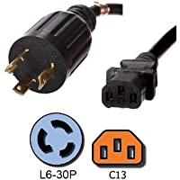 NEMA L6-30P to C13 Power Cord - 10 Foot, 15A/250V, 14/3 SJT Wire - Iron Box # IBX-4942-10