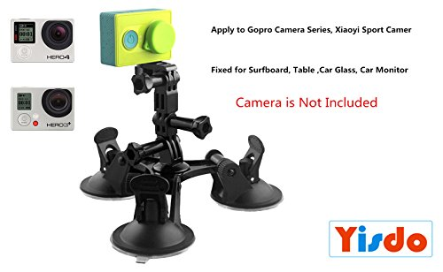 Foldable Triangle Strong Mount Holder for Gopro Camera Series, Sucker Bracket Strong Car Triangular Sucker Adapter Fixed for Surfboard, Table ,Car Glass, Car Monitor (Surfboard Gopro Mount)