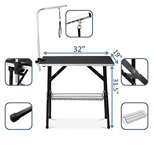 puppykitty 32' Professional Dog Grooming Table w/Adjustable Arm & Noose & Mesh Tray pet Grooming Table for Dogs Dog Grooming Tables Small Dogs