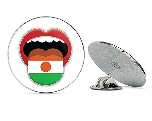 """Niger Flag Mouth Round Metal 0.75"""" Lapel Pin Hat Shirt Pin Tie Tack Pinback"""