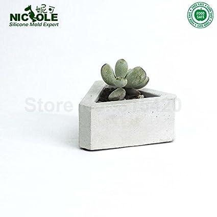 Moldes de hormigón con forma triangular para postes de flores, moldes de silicona para macetas