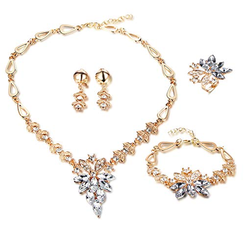 FAUOI Women Clear Crystal Rhinestone Statement Necklace Earring Jewelry Set Rose Gold Plated Bridal Flower Jewelry Sets for Costume