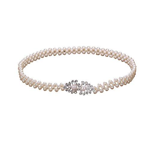 Rhinestone Buckle Fashion Belt (Sitong Women's pearl rhinestone buckle elastic belt(Pearl)