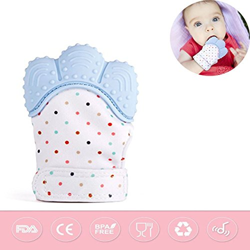 Silicone Teething Mitt Baby Teether Baby Teething Mitten Teething Toys Teething Glove Infant Teething Mittens Teethers BPA Free Crinkle Sound Teether Baby Toys 3-12 Months