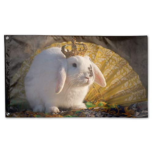 YUANSHAN Home Garden Flag White Rabbit Queen Polyester Flag