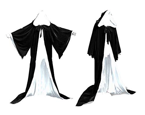- Fenghuavip Colorful Lining Velvet Wedding Hooded Cloaks Black Wicca Capes Bell Sleeves(Black White XL)