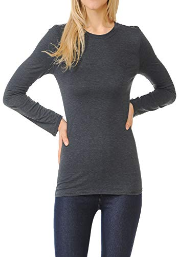 - ClothingAve. Women's Crew Neck Cotton Blend Essential Long Sleeve T-Shirt Top,Charcoal,Large