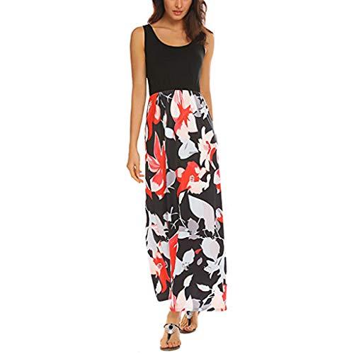 (Alangbudu Womens Summer Contrast Sleeveless Tank Top Sleeveless Floral Print Maxi Long Loose Plain Pleated Flowy Dress)